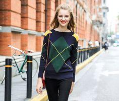 Rhombus Geometric Long-sleeve Sweater