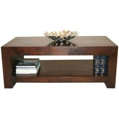 Homescapes Dakota Rectangle Coffee Table with Shelf Dark Shade