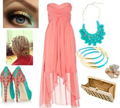 Coral and Teal!, created by therebeccahunt on Polyvore