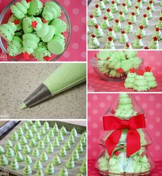 DIY Christmas Tree Meringues For meringue you will need: 4 egg whites teaspoon salt teaspoon Cream of Tartar 1 cup sugar Green food coloring Sprinkles added right after coming out of oven Christmas Snacks, Xmas Food, Christmas Cooking, Diy Christmas Tree, Christmas Goodies, Holiday Treats, Holiday Recipes, Christmas Potluck, Meringue