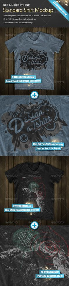 High quality, Photoshop Mockup Templates for Standard Shirt Mockup. First PSD  Regular Front View Mock up. Second PSD  3D CloseUp