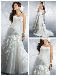 Trumpet/Mermaid Strapless Organza Satin Floor-Length discount unusual Wedding Dresses
