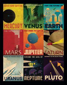 Poster para viajar por nuestro sistema solar. 1. Atrapa algunos rayos en Mercurio. 2. Viaje por las junglas de Venus. 3. Visite el futuro en la Tierra. 4. Navegue por los canales de Marte. 5. Flote a través de las nubes de Júpiter. 6. Cabalgue los anillos de Saturno. 7. Escale los riscos congelados de Urano. 8. Explore los mares en Neptuno. 9. La puerta a nuestro sistema solar. Plutón.