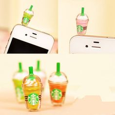 Starbucks Frappuccino dust plugs, iphone dust plugs, Earphone Plug, 3.5mm Phone Plug, Earphone Cap Headphone Jack Charm, HTC accessories on Etsy, $0.99