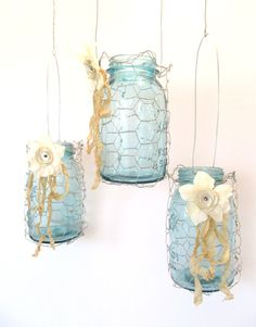 Vintage Blue Canning Jar in Chicken Wire by SassytrashAntiques, $18.00 HOWEVER, I believe I can do this!!!