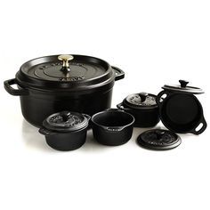 Staub Matte Black Round Enameled Cast Iron 4 Quart Cocotte with 4 Ceramic Mini Cocottes