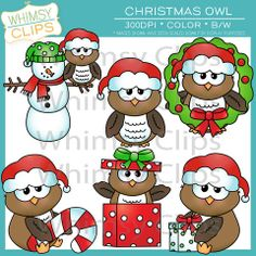 The Christmas owl clip art set contains 12 image files, which includes 6 color images and 6 black & white images in png and jpg. All images are 300dpi for better scaling and printing. $