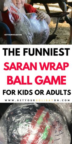 The funniest game to play by far! Plastic Wrap Ball Game for Kids or Adults. You can play this game at a Christmas party, Halloween bash, or birthday party! Indoor Party Games, Easy Party Games, Family Party Games, Sleepover Games, Adult Party Games, Adult Games, Abc Games, Sleepover Party, Christmas Games For Kids
