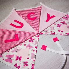 Handmade classic baby girl bunting, personalised with any name. Each flag is carefully produced by hand therefore can be made to suit your own ideas. Name Bunting, Fabric Bunting, Name Banners, Kids Gifts, Baby Gifts, Apple Gifts, Personalised Bunting, Girl Christening, Nursery Decor