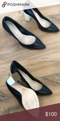 4c6580327d0 Brand New without tags Loeffler Randall heels Loeffler Randall black leather  with white chunky heel.