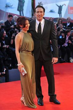 Nicolas Cage and Alice Kim on the Red Carpet
