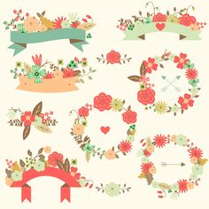 Wedding vector floral ribbons set