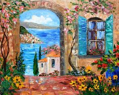 Karen Tarlton Paintings   Karen Tarlton Original oil painting Amalfi Coast Italy - impasto fine ...