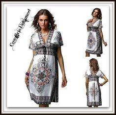 SEXY & FIGURE FLATTERING COWGIRL GYPSY DRESS! Paisley Empire Elastic Waist V Neck & Back Boho Mini Dress  #paisley #bohemian #floral #boho #gypsy #cowgirl #dress #deepv #sexy #empirewaist #boutique #fashion #summer #wholesale #cowgirlsuntamed #beautiful