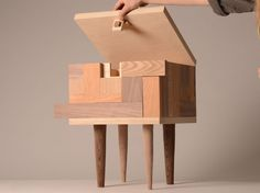 worclip: Hide Stool by Tove Greitz Stool with hidden storage, opened with a combination puzzle.