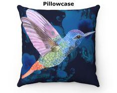Hummingbird throw pillow cover / bird throw pillowcase / Cottagecore décor pillow case / blue pillow cover by EarthPrintsCo on Etsy Square Pillow Covers, Blue Pillow Covers, Blue Pillows, Pillow Cases, Throw Pillows, Bird Design, Etsy App, Coloring Sheets, Sell On Etsy