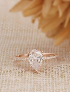 Start your happily ever after on a sweet note with this forever brilliant moissanite engagement ring set from Camellia Jewelry. Scrupulously handmade in fine detail, it is a unique moissanite wedding ring set that will show her how much you care without b Dream Engagement Rings, Rose Gold Engagement, Vintage Engagement Rings, Vintage Rings, Halo Engagement, Ring Set, Ring Verlobung, Wedding Promises, Simulated Diamond Rings