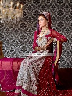 Dark Pink Churidar Sleeve Long Shirt Pakistani Bride By Maria B In