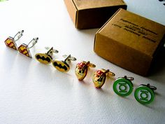 Wedding party Cufflinks set of 4 superheroes   by LondonDesign, £55.00