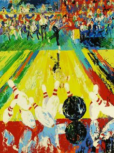 LeRoy Neiman passed away today at 91 years of age. This painting; Million Dollar Strike, Serigraph on Paper