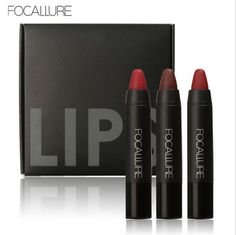 [Visit to Buy] FOCALLURE 3pcs/set Makeup Red lipstick Matte Waterproof With Long Lasting Effect Powdery Matte Soft Pencil Lipstick  color FA22 #Advertisement