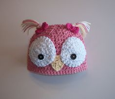 Crochet Owl Hat Tweet Tweet the Girly Bird. $16.99, via Etsy.