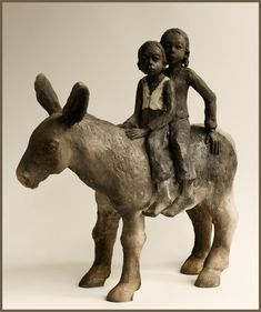black and white - children with donkey - figurative ceramic sculpture Joelle Gervais African Sculptures, Animal Sculptures, Ceramic Figures, Ceramic Art, African American Figurines, Advanced Ceramics, Art Sculpture, Animal Games, Clay Animals