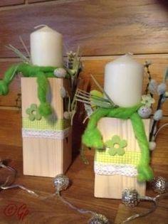 Holzpfosten dekoriert mit bl ten kr nzchen und kerzen for Gartendeko kerzen