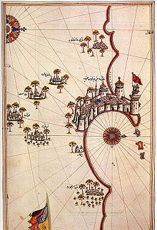 Historic map of Tripoli by Piri Reis... According to al-Baladhuri, Tripoli was...taken by the Muslims very early after Alexandria, in the 22nd year of the Hijra, that is between 30 November 642 and 18 November 643 AD. Following the conquest, Tripoli was ruled by dynasties based in Cairo, Egypt (first the Fatimids, and later the Mamluks). For some time it was a part of the Berber Almohad empire and of the Hafsids kingdom. It was part of the Ottoman Empire between the 16th and 19th centuries.