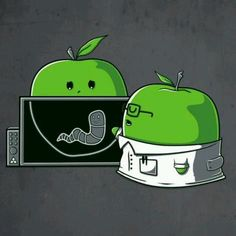 X Ray worm in apple cartoon Cute Puns, Funny Puns, Funny Cartoons, Funny Shit, Hilarious, Funny Images, Funny Pictures, Sketch Manga, Funny Doodles