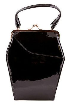 Tatyana To Die For Purse Black Sparkle Coffin Bag 1950s Vintage Pinup Goth New