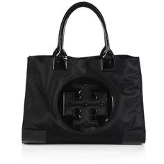 Tory Burch Ella Nylon & Faux Leather Tote ($205) ❤ liked on Polyvore featuring bags, handbags, tote bags, apparel & accessories, nylon tote, vegan tote bags, nylon purse, tote purses and nylon tote bags