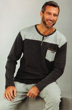Pijama massana gris marengo. Pijama para hombre de manga larga y pantalón largo. #regalos http://www.varelaintimo.com/40-pijamas