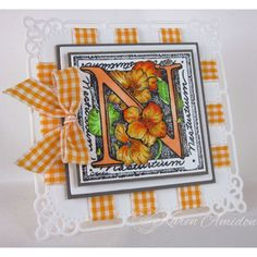 Karen Amidon used Serendipity Stamps Floral Alphabet rubber stamp to make her card.
