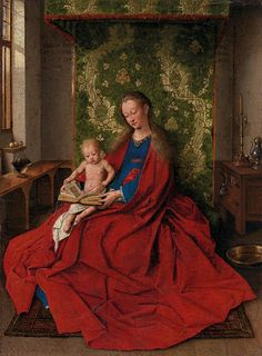 Jan Van Eyck Madonna with the Child Reading, , National Gallery of Victoria, Melbourne. Read more about the symbolism and interpretation of Madonna with the Child Reading by Jan Van Eyck. Renaissance Kunst, Renaissance Artists, Renaissance Paintings, Jan Van Eyck Paintings, Painting Frames, Painting Prints, Ghent Altarpiece, Madonna And Child, Kids Reading