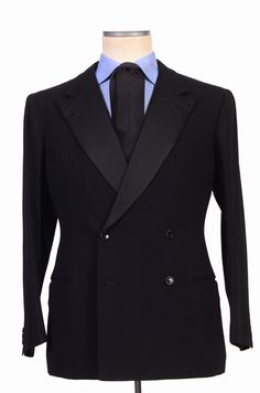 - Original Retail Price: 8450$ - New With Tags - US Size: 40 - 42 - EU Size: 52 - Black Tuxedo - Made Of Wool - Mohair - Double Breasted - Fully Lined - Unvented - Fake Sleeve Buttonholes - Besom Pock