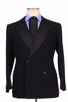 RUBINACCI LH Hand Made Bespoke Black Wool-Mohair DB Tuxedo Suit EU 52 NEW US 40-