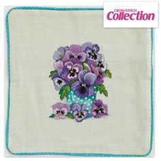 Winter Pansies Cushion Cross Stitch Kit: Available in linen and aida