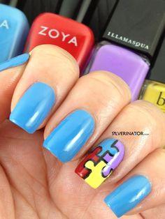 Light It Up Blue mani for Autism Awareness. Zoya Yummy, Zoya Sooki, Illamasqua Jo'Mina and Butter London Cheeky Chops