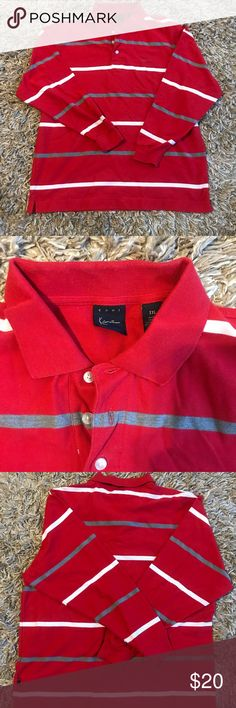 2XL - Karl Kani Long Sleeve Polo - Vintage 90's Long sleeve red with white and gray stripes vintage Karl Kani polo shirt. 90's Hip Hop at it's finest.  This shirt is in excellent used condition - no fading, pilling, rips or tears.   2XL Karl Kani Shirts Polos