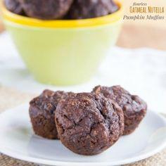 Flourless Oatmeal Nutella Pumpkin Muffins for #SundaySupper - Cupcakes & Kale Chips