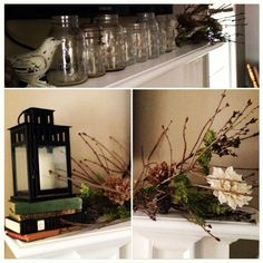 Winter mantle decorated with things from around the house. Twigs are ground a bush in the yard, lantern, birds, and books were previously on a cluttered bookshelf, greenery, burlap flowers, and pine cones were from Christmas tree decor, clear mason jars are from the garage!