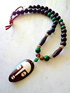 Mens Tribal Necklace  Mens African Batik Bone by KheperaAdornments