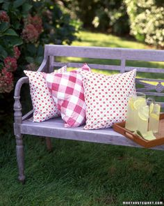 Outdoor Pillows     Those inexpensive vinyl tablecloths are good for more than just picnics -- they make great material for pillows that are easy to clean.