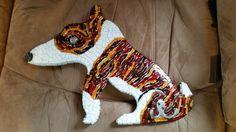 American bull terrier mosaic leash holder. Pre-grout   #PrancyBearStudio