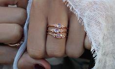 14kt rose gold white rose cut diamond bezel ring – Luna Skye
