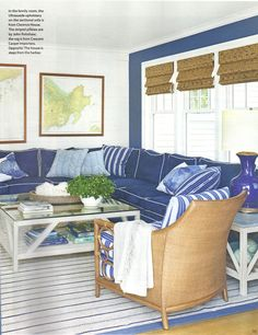 I was so thrilled to see a new home designed by favorite Lynn Morgan  in the July/August issue of Coastal Living. Nautical Chic without go...