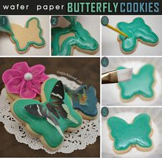 Any easy way to make stunning decorated cookies without coloring a bunch of icing! How To Make Wafer Paper Butterfly Cookies by @Janine Hardy (sugarkissed.net)
