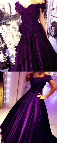 Grape Lace Flower Off The Shoulder Satin Prom Dresses 2018 Ball Gowns Quinceanera Dresses