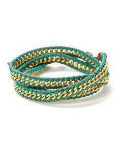 Chan Luu Gold Chain & Leather Wrap Bracelet